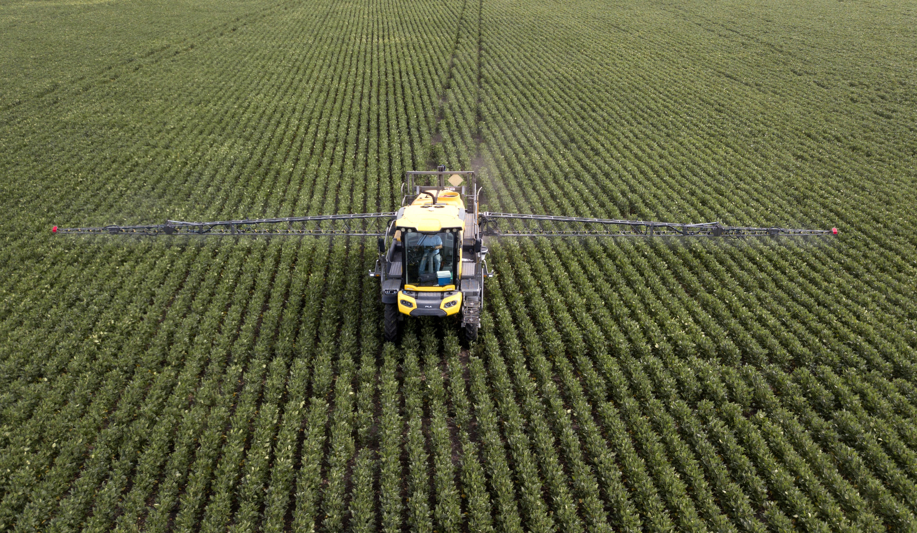 A soybean field is fumigated near Urdinarrain, Entre Rios province, Argentina, on February 8, 2018. Soybean fields in Argentina are often fumigated with glyphosate, a herbicide which is probably carcinogenic according to the World Health Organization (WHO), but which is needed to maintain crops of transgenic seeds. The first trial for the possible effects of Round Up -Monsanto's polemic herbicide containing gliphosate- starts on July 9 in the US. / AFP PHOTO / IVAN PISARENKO
