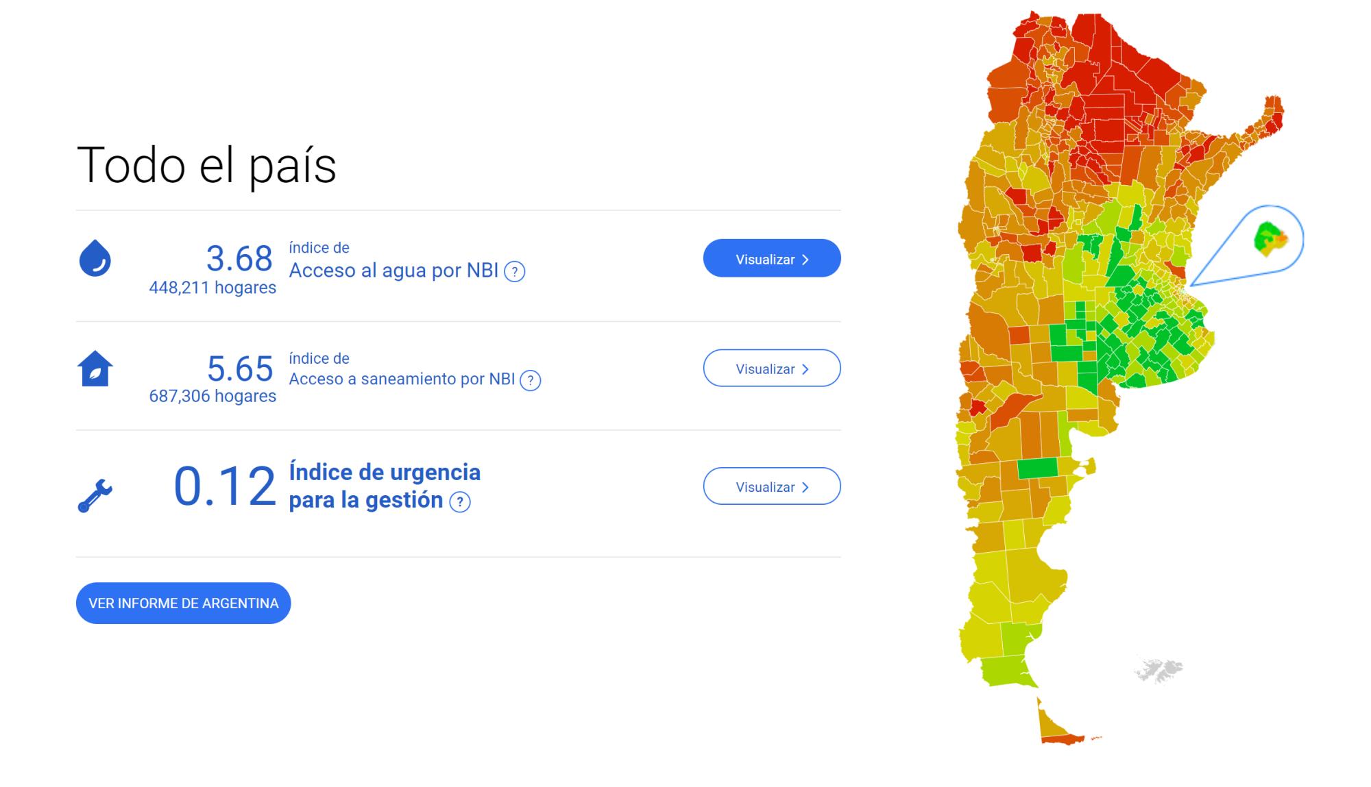 Semáforo. Los colores indican la intensidad del problema asociado al acceso a agua y cloacas. Rojo, para más intensidad, y verde, para menos.