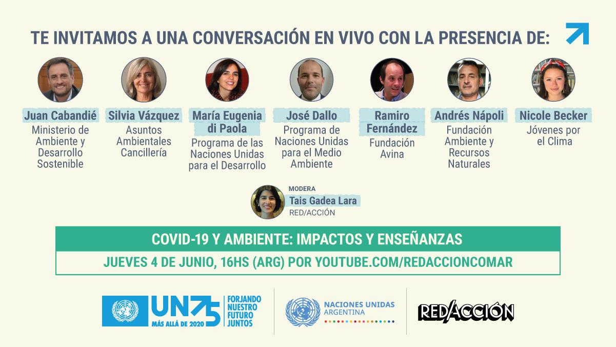Naciones Unidas Argentina y RED/ACCIÓN te invitan a un diálogo digital sobre COVID-19 y ambiente