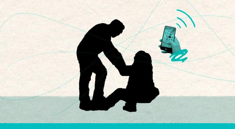 Ilustración: persona ayudda a otra a levantarse. Y un celular avisa de la situación.