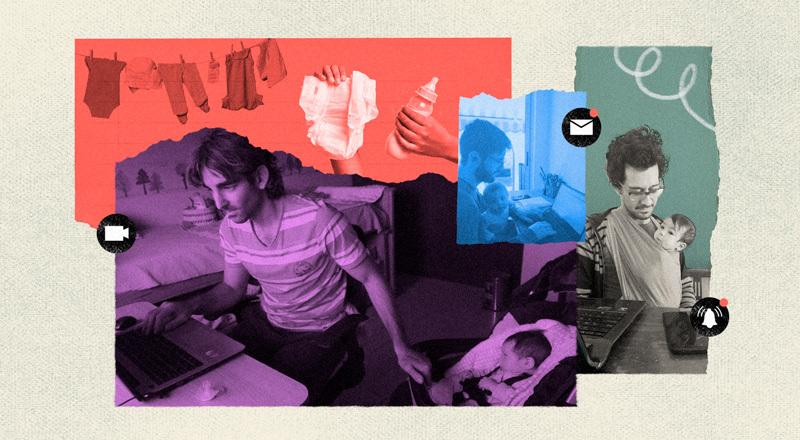 Intervención de tres fotos con sus hijos bebés, trabajando mientras los cuidan.