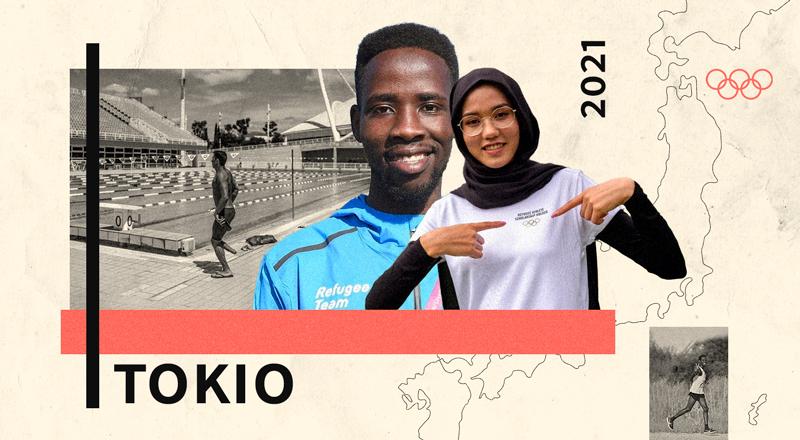 Un collage con tres fotos de deportistas refugiados que participarán en los Juegos Olímpicos de Tokio.