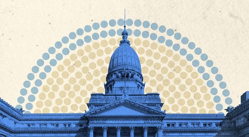 Una foto del Congreso nacional con puntos coloreados que representan bancas.