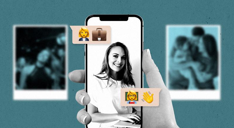Un celular con una foto de una mujer trabajando en una computadora. De fondo, fotos de eventos sociales.