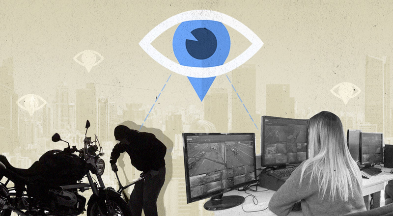 Un collage que muestra la sombra de un hombre delinquiendo y una mujer en un centro operativo de un municipio.