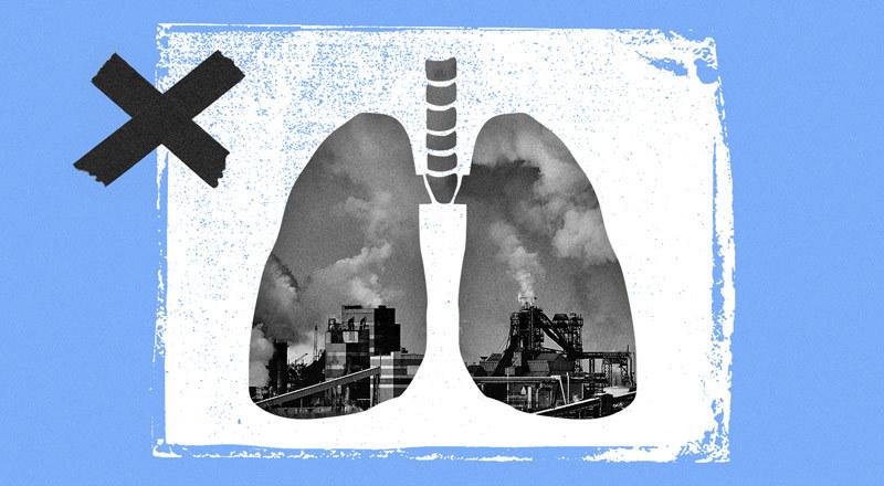 Dos pulmones, en cuyo fondo se ven industrias contaminantes.