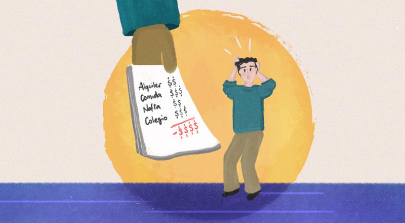 Un hombre se toma la cabeza ante una lista de pagos que debe afrontar.