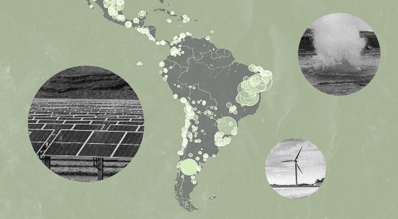 Un mapa de América Latina e imágenes de fuentes de energía renovables no convencionales.
