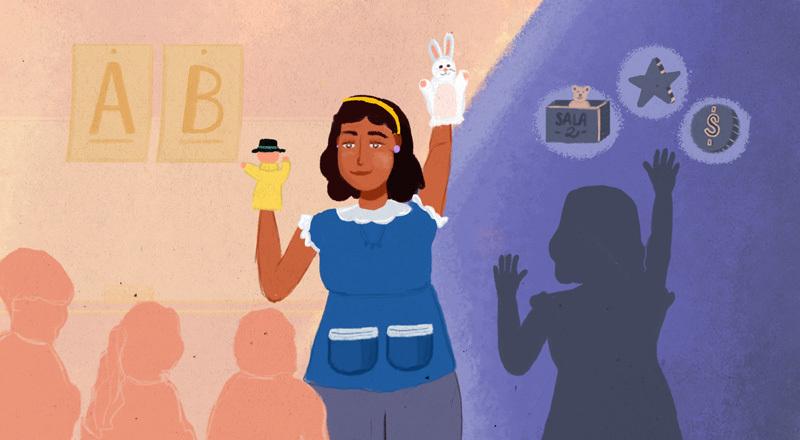 Ilustración con una cuidadora con títeres en sus manos en el centro de la imagen.