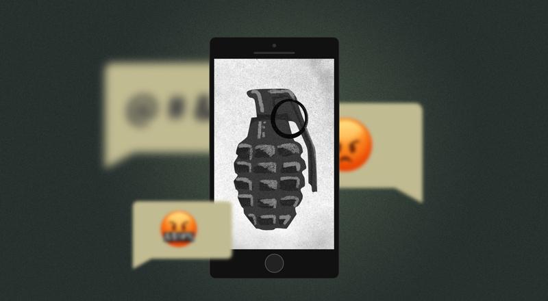 El dibujo de un celular con una granada en la pantalla.